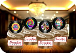 NOVELTY Vinyl Record Sixties Mix 12 48 VANILLA Cake Toppers Edible Birthday 60