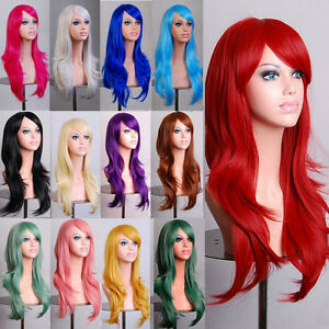 Lady Fashion 70cm Full Curly Wigs Cosplay Costume Anime Party Hair Wavy Long Wig $12.99
