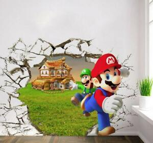NEW 3D Super Mario Bros Removable Wall Stickers Decal Kids Home Decor USA