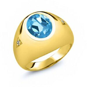 5.07 Ct Swiss Blue Topaz White Diamond 18K Yellow Gold Plated Silver Men's Ring