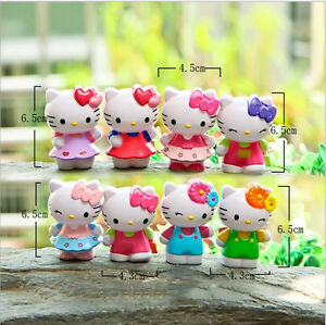 8pcs Lot hollow Hello Kitty Figure toys