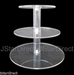 3 Tier Crystal Clear Acrylic Round Cup Cake Stand Tower Wedding Baby Shower deco