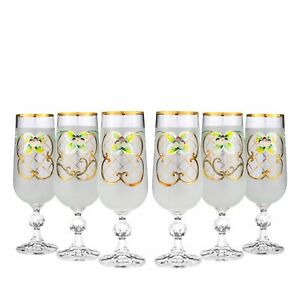 Bohemian Crystal Colored Glasses, 6-pc Vintage WHITE Champagne Stem Flutes