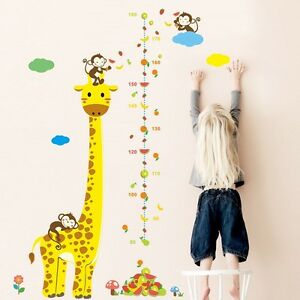 Large Animal Giraffe Monkey Height Chart Removable Kids Wall Decals Stickers