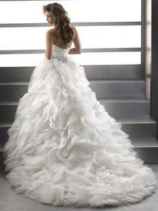 MAGGIE SOTTERO GORGEOUS CORSET WEDDING GOWN DRESS WITH TOULLE SZ 6