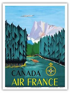 Canada Vintage Airline Travel Art Poster Print