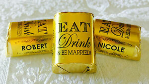 300 EAT Drink amp; BE MARRIED GOLD FOIL WEDDING CANDY WRAPPERS personalized FAVORS