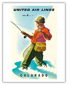Colorado Fisherman Fly Fishing Vintage Airline Travel Art Poster Print Giclée