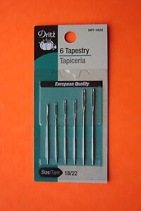 Dritz Tapestry Hand Sewing Needles Size 18 22 6 pack Large Eye Blunt Point $7.95