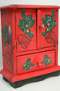 Frogs Red Essential Oil Cabinet Hand Painted Aromatherapy Crystals Sewing Drawer $29.99