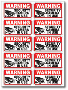 10 pack VIDEO SURVEILLANCE Security Burglar Alarm Decal  Warning Sticker Signs