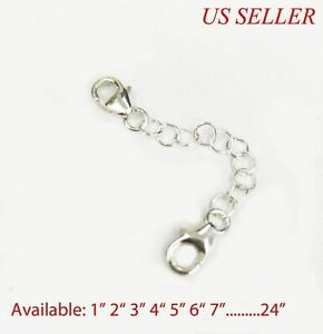 925 Solid Sterling Silver Round Link Extender Safety Chain Necklace Bracelet   $5.99