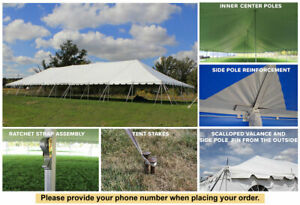 40x100 White Vinyl Classic Pole Tent for Wedding Outdoor Event Party Catering
