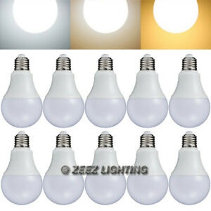 10X LED Light Bulbs 7W Natural Bright White A19 Equivalent 60W Incandescent Lamp