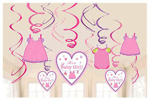 Shower with Love Baby Girl Value Pack Foil Swirl Decorations Party Supplies 12ct
