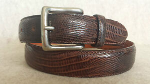 FACONNABLE Designer Luxe Brown Embossed Leather Belt Size 9036 Made in Italy