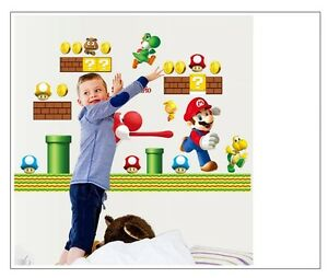 NEW Super Mario Bros Yoshi Removable Wall Stickers Decal Kids Home Decor USA