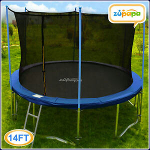 ZUPAPA ROUND 14FT TRAMPOLINE FRAME SAFETY ENCLOSURE SPRING PAD JUMPING MAT COMBO