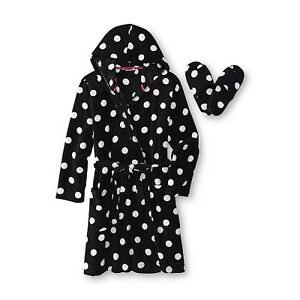 Joe Boxer Women's Plush Robe & Slippers - Polka Dot Size S M L 1XL 2XL
