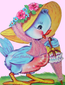 Sweet Vintage Bluebird Greeting Card REPRO on Cotton Fabric Block 5x7quot; or 8x10quot; $8.50