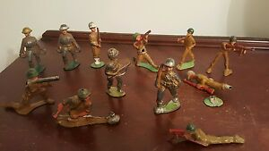 lot of 12 lead metal soldiers barclay putz train