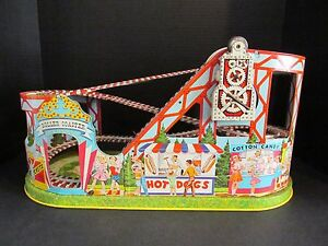 j tin litho wind up mechanical roller coaster