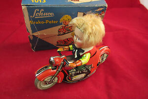 old motorcycle mirako peter 1013 wind up litho tin