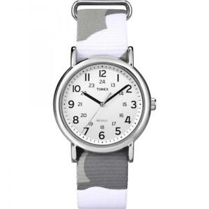Unisex Watch TIMEX WEEKENDER T2P366 Fabric Military Camouflage Gray White
