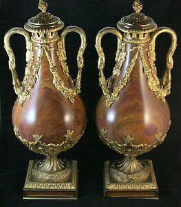 Pair of Bronze-Mounted Marble Casolettes