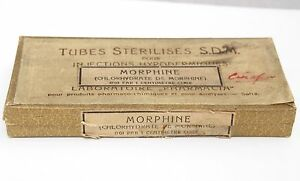 ANTIQUE EMPTY PHARMACIA MORPHINE CARDBOARD BOX MEDICAL GLASS VIALS DOCTOR 19C