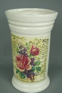 Flower Vase Vintage Shabby Chic style French Script Cream with Flowers