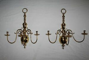 virginia ers 2 large brass 3 arm wall