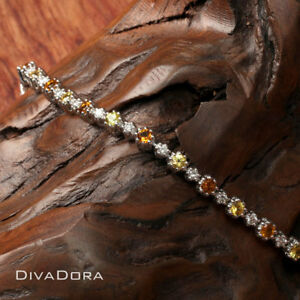 Round Diamond Yellow Sapphire & Citrine Tennis Bracelet in 14K Solid White Gold