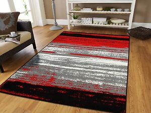 Large Grey Modern Rugs For Living Room 8x10 Abstract Area Rug Red Black Gray 5x7