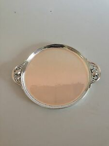 Georg Jensen Sterling Silver Blossom Round Tray with handles #2AB.