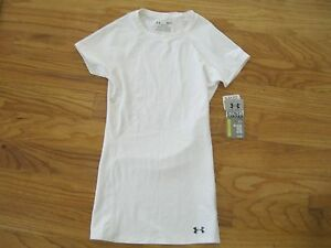 ~RARE~UNDER ARMOUR~WOMENS~COLD BLACK~BLOCK OUT SUN~COMPRESSION SHIRT~WHITE!