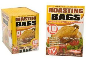 10 PACK ROASTING BAGS 25CM X 38CM- MEAT/CHICKEN- KITCHEN/COOKING/OVEN/MICROWAVE