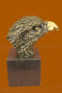Chinese Fengshui Bronze Hawk eagle Head Bust king of birds Statue sculpture Art