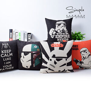 Cartoon Star Wars Sith Movie Poster Quote Linen Pillow Case Cushion Cover 18