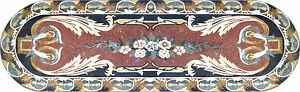 Round Sides Ellipse Rug Carpet Floral Design Pool Home Marble Mosaic CR519