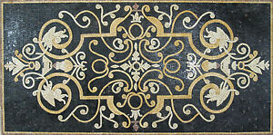Classy Chic Rich Black Yellow Carpet Design Home Decor Marble Mosaic CR539