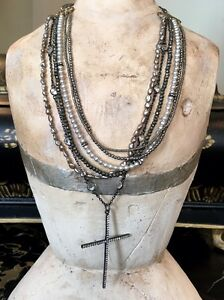 Andrea Barnett Layered Freshwater & Keshi PearlPyriteHematite Cross Necklace.