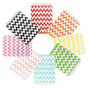 100pcs Party Favor Paper Bags Chevron Food Saft Craft Treat Candy Popcorn Boxes