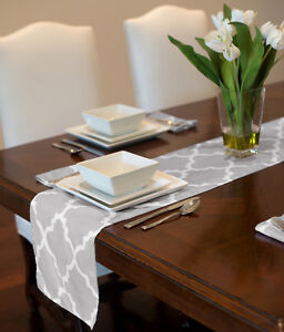 GREY amp; WHITE MODERN CONTEMPORARY TRELLIS TABLE RUNNER MAT TOPPER PARTY 72quot; 90quot; $19.99