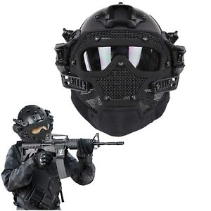 Tactical Airsoft Paintball Fast Helmet Protect Full Face Mask Goggles G4 System