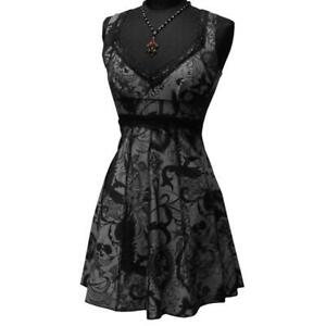 Shrine Women's Vintage Style Cocktail Dress - Gothic Tattoo Print - Gray