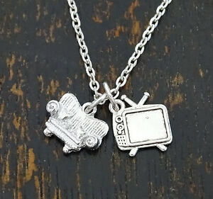 Movie Necklace TV Charm TV Pendant Couch Charm Couch Pendant Movie Jewelry