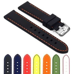 StrapsCo Silicone Rubber Waterproof Mens Watch Strap Divers Quick Release Band