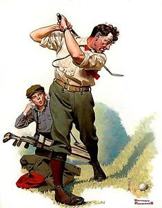 GOLF SWINGING. :Norman Rockwell PRINT on ONE 16 inch square Fabric Panel. To Sew $16.50