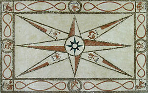 Compass Rug Carpet Art Floor Design Marble Mosaic CR463